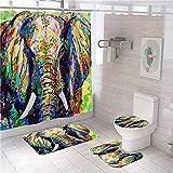 3D Gedruckter Duschvorhang 150x180 cm Grün Blau Rot Gelb Tier Elefant Wasserdicht Antibakterielles Duschvorhang gesetzt Polyester rutschfest Badematte Waschmaschinenfest