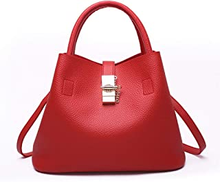 Fine Bag/Women's Handbag Time Simple Bucket Bag Temperament Wild Shoulder Crossbody Bag Large Capacity Handbags Shopping (Color : Red, Size : 31 * 18 * 23cm)