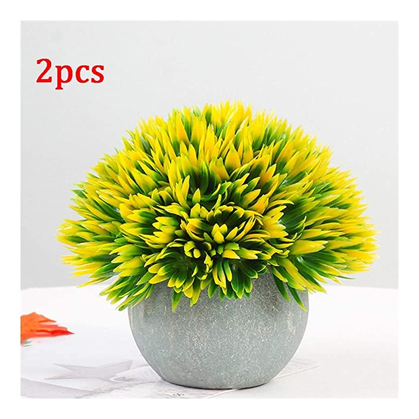 必需品わかりやすい前部屋外および屋内結婚式/オフィス/家の装飾のための灰色の鍋の小型プラスチックのどの緑の草が付いている人工的な植物人工花の盆栽(2/6個) (Color : Yellow)