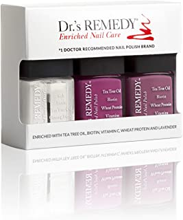 Dr.'s REMEDY Enriched Nail Polish, BRILLIANT BERRY TRIO 3Piece Boxed Set, Brave Berry/Mindful Mulberry/Total Two-in-one