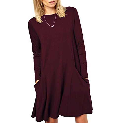 13f2eab1171a Women s Casual Pockets Plain Simple T-Shirt Tunic Loose Dress