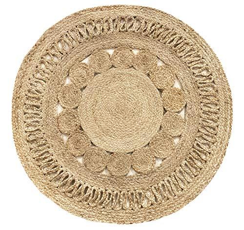 HAMID Alfombra Yute Alhambra Nazarí Color Natural Redonda - Alfombra 100% Fibra de Yute - Diseño Trenzado - Hecho a Mano - Alfombra de Fibra Natural (120x120cm)