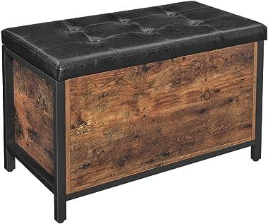 VASAGLE Banc de Rangement, Siège rembourré, 80 x 40 x 50 cm, Bout de lit, pour Couloir, Chambre, Salon, en métal, Style Indus