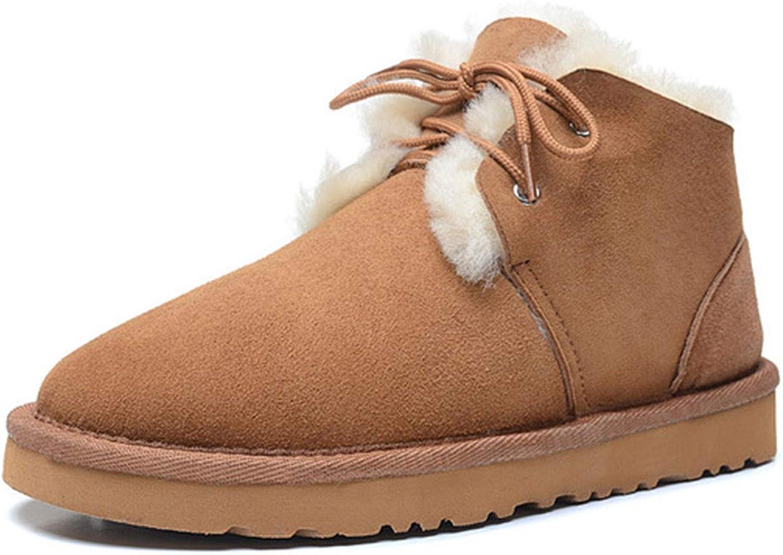 Women's Genuine Sheepskin Leather Ankle Booties Waterproof 100% Natural Fur Winter Snow Boots