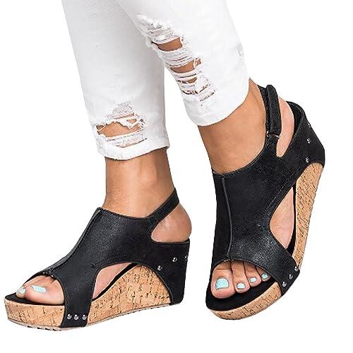0221f9ed6a Pxmoda Women's Peep Toe Ankle Buckle Gladiator Wedges Sandals Summer  Platform Sandals