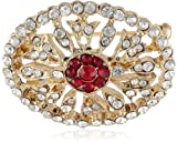 "Downton Abbey ""Jeweled Heirlooms Boxed"" Gold-Tone Crystal Edwardian Pave Ruby Stones Oval Pin"