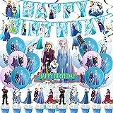 Decoración De Globos De Fiesta Congelada, 44Pcs Decoración De Cumpleaños Frozen Globos Pancarta De Feliz Cumpleaños Adorno Para Tarta Congelada Remolinos Colgantes Frozen Cumpleaños Fiesta Suministros