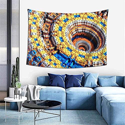 Complejo, Fractal, caos, celosía, reloj, como arte de pared y decoración del hogar para dormitorio, sala de estar, dormitorio, tapiz de 152 x 101 cm