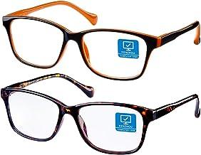 Blue Light Blocking Computer Glasses 2 Pack Anti Eye Eyestrain Unisex(Men/Women) Glasses with Spring Hinges UV Protection(...