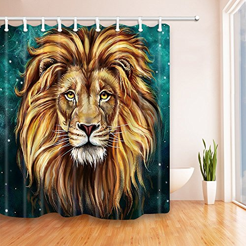 Cool Lion Shower Curtain for Bathroom, Powerful Wild Animals Decor Fabric Curtain Set with Hooks, 71X 71 in