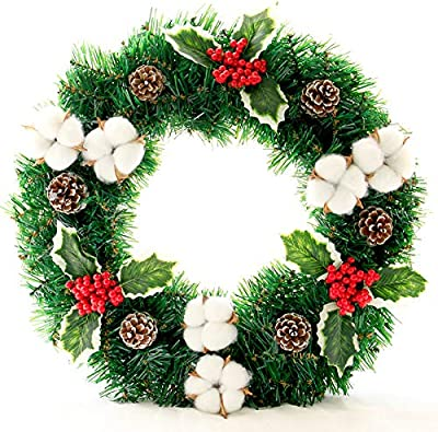 iBàste 30cm 40cm 50cm Guirnalda De Navidad para Casa Puerta De La Pared Inicio Fiesta Árbol Colgante Decoración Otoño Guirnaldas Artificiales Rojo Fruta Hoja De Algodón Verde Flor: Amazon.es: Hogar