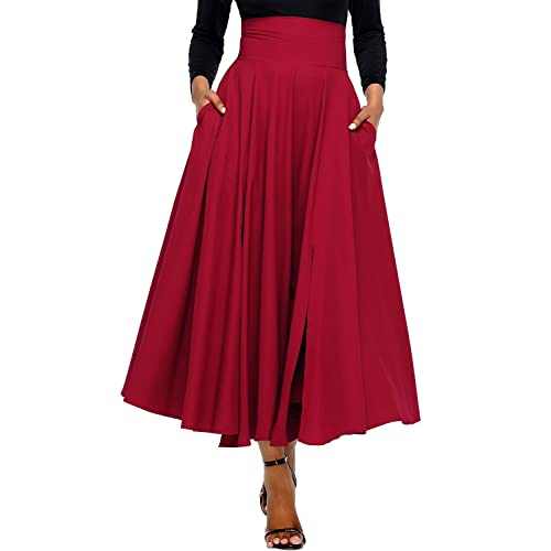 71704b11c24 Annflat Women s Summer High Waist Swing Pleated Full Length Front Slit  Belted Maxi Skirt