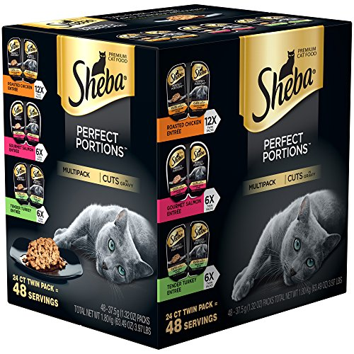 SHEBA PERFECT PORTIONS Wet Cat Food Cuts in Gravy Roasted Chicken, Gourmet...