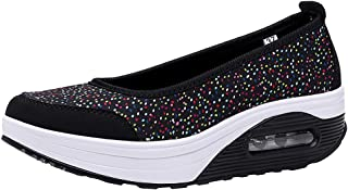 Women's Mesh Slip On Air Cushion Lady Girls Dance Easy Shoes Platform Loafers