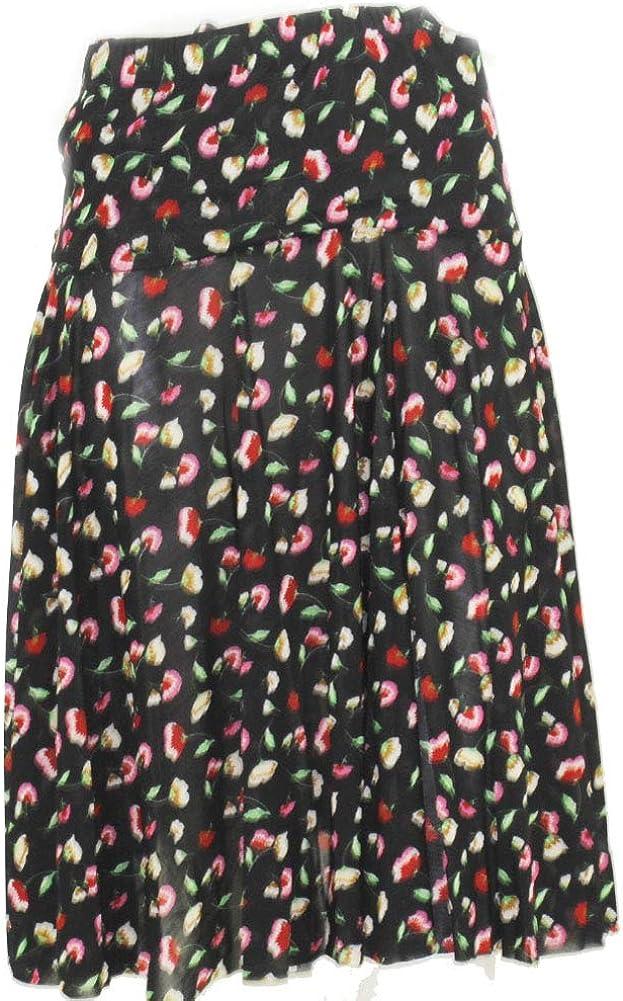 Women's Basic Versatile Stretchy Casual Flower Pattern Skirt-Medium Size