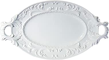 Intrada BAR7428W Baroque Oval Platter with Handles, White