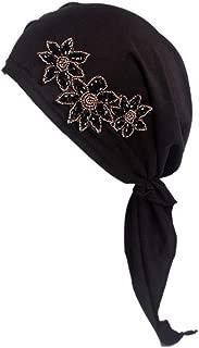 MOMEPE Women Fashion Long Tail Turban Head Cover Beaded Chemo Cap Headscarf