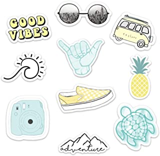 Stickers for Water Bottles –(10 Pack) Cute Waterproof and Perfect for Laptop, Hydro Flask, Yeti, Car, Phone - Trendy Decal Water Bottle Stickers - Quality Vinyl VSCO Aesthetic Sticker Pack-Made in USA