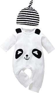 Toddler Baby Boy Girl Cute Cartoon Panda Jumpsuit Romper+Striped Hat Clothes Set 2Pcs Pajamas Outfits Set
