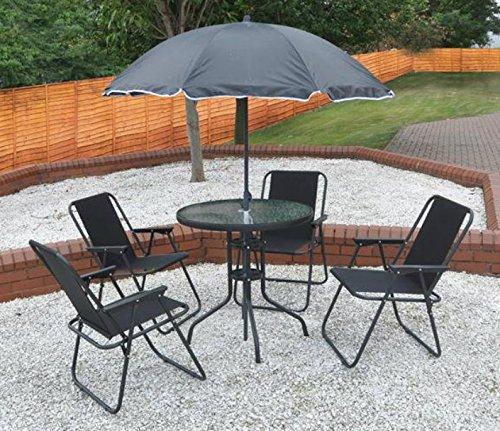 Garten Mile® – 6-teiliges, schwarzes Terrassen-Set, mit Esstisch, 4 Klappstühlen und einem Sonnenschirm-