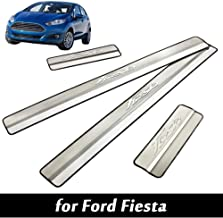 JTAccord Car External Door Sill Scuff Plate Protector for Ford Fiesta 2009 2010 2011 2012 2013 2014 2015 Kick Plates Welcome Pedal Guard Pedal Trims Sticker Stainless Steel Threshold Cover 4 Pcs