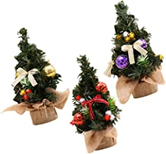 KESYOO 3pcs Tabletop Christmas Tree Mini Small Christmas Artificial Pine Green Tree with Decorated Red Balls Baubles Ornam...
