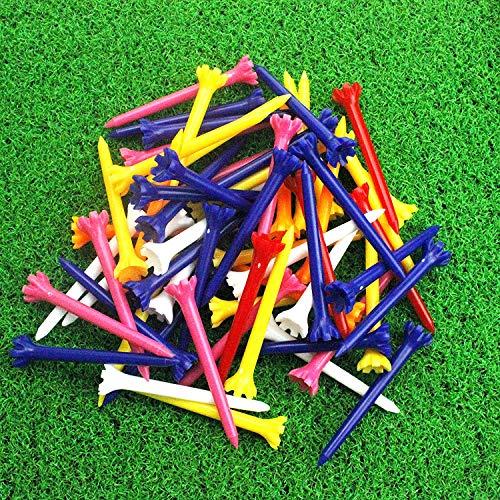 Crestgolf - Tees de Golf de Colores Mezclados de 2 3/4 Pulgadas, Casi de plástico, de Baja Resistencia, sin fricción, 100 Unidades (5 Dientes y 7 Dientes para Que elijas), 7-Prong (65 mm)