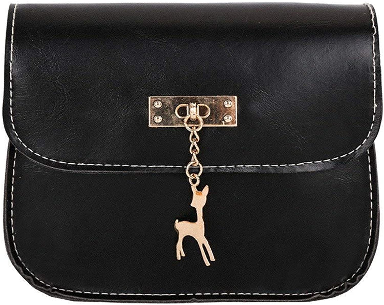 Bloomerang Womens Leather Crossbody Bag Small Deer Shoulder Bags Purse Messenger Bag Women's Handbags Totes Shoulder Bags bolsos muj 75 color Black Mini(Max Length 20cm)