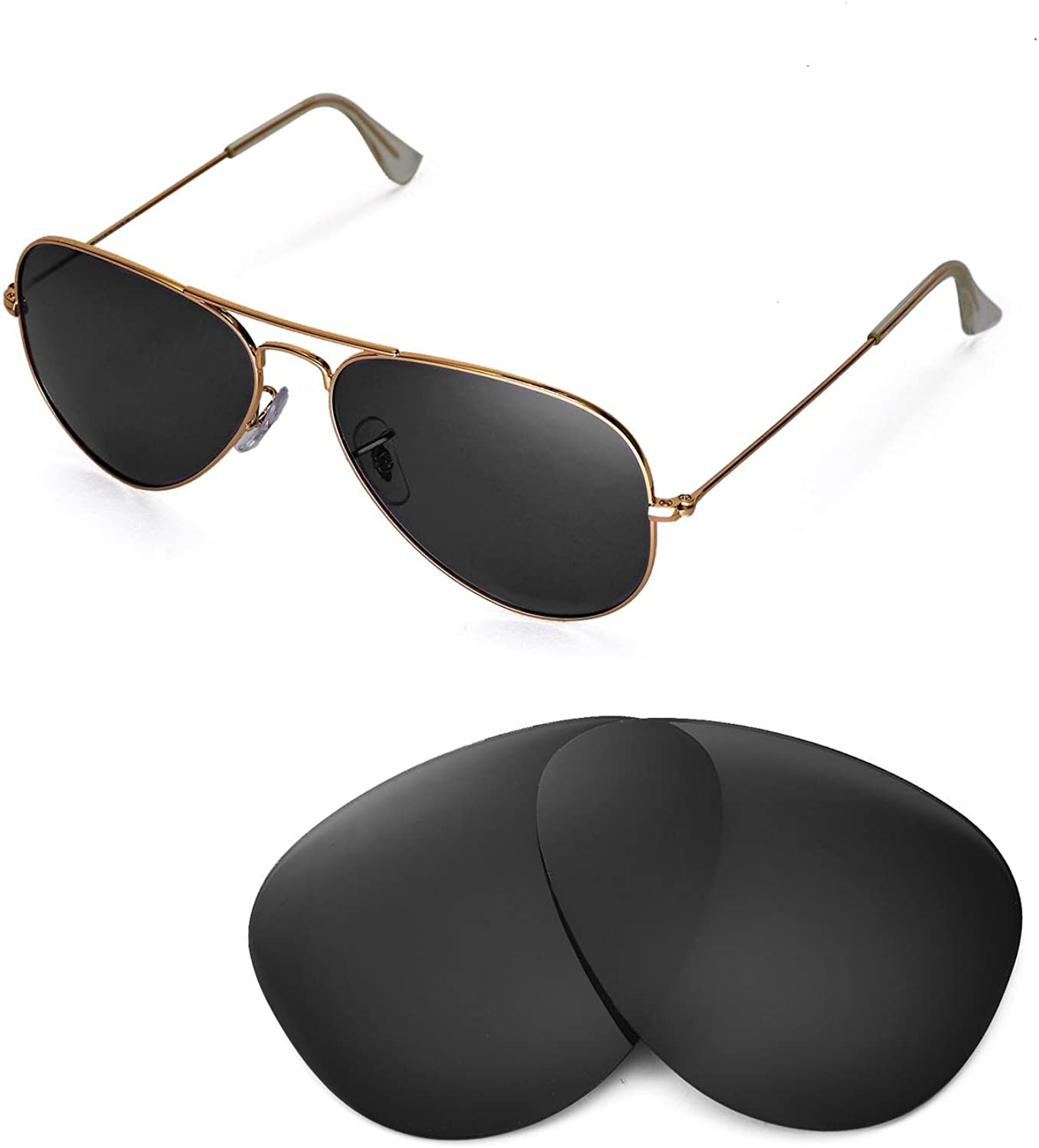 Walleva Replacement Lenses for Ray-Ban Metal Ranking TOP8 Large 5 popular RB302 Aviator