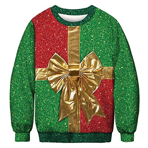 Azruma Interessant Weihnachtspullover 3D Gedruckt Unisex Sweatshirts Damen Herren Lustige Weihnachtspulli Rundhals Jumper Pullover