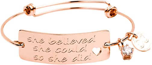 "Baubelle Expandable Inspirational Stackable Charm Bracelet ""She Believed She Could So She Did"