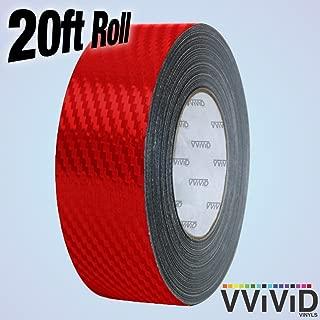 VViViD Dry Carbon Fibre Detailing Vinyl Wrap Tape 2 Inch x 20ft Roll DIY (Red)