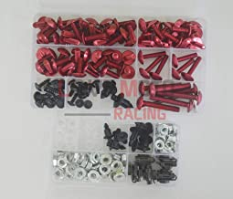LoveMoto Full Motorcycle Fairing Bolt Screw Kit For Yamaha YZF 1000 R1 02 03 YZF1000 R1 2002 2003 New Body Screws Aluminum Fasteners Hardware Clips Red Silver