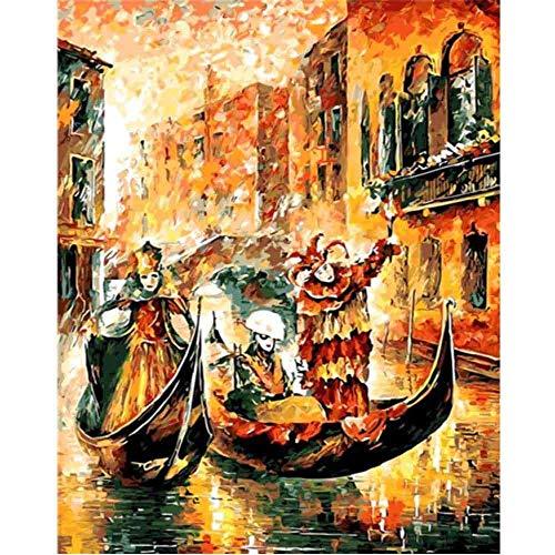 No-brand Malen nach Zahlen Erwachsene Gemaltes Segelboot Malset mit vorgedruckter Leinwand für Gemälde Acrylfarben Kreativ Motiv 40 * 50cm(ohne Rahmen)