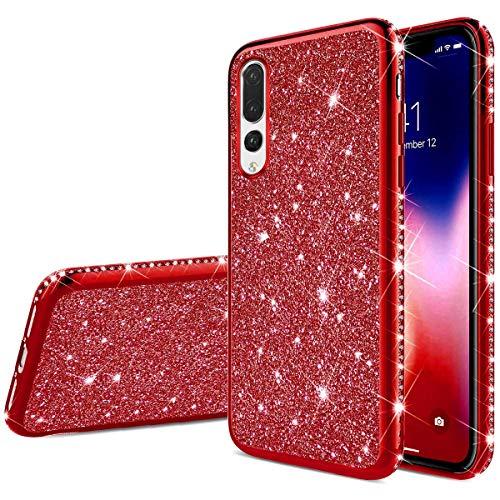 Robinsoni Huawei P20 Lite Coque Glitter de, Coque Silicone Glitter Sparkle Paillette Strass Brillante Etui Housse de Protection Souple en Gel TPU Métal Coque pour Huawei P20 Lite,Rouge
