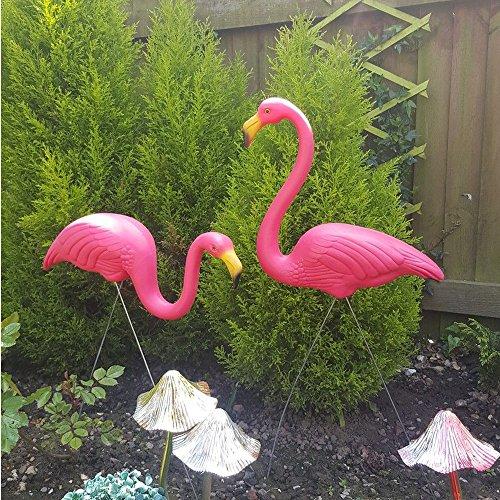CRAVOG Lot de 2 flamants roses en plastique pour décoration de pelouse, jardin, étang pour fête, beauté naturelle