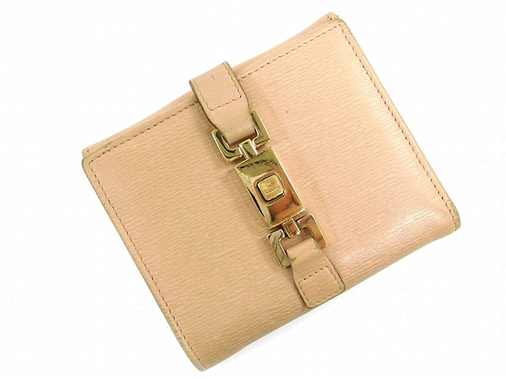 今日テープ資源[グッチ] GUCCI 二つ折り財布 ジャッキー金具 レザー X7343 中古