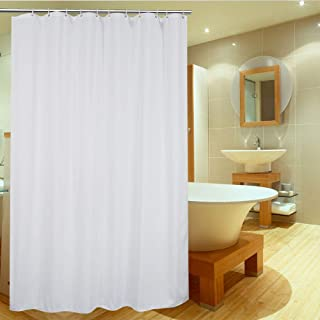 UFRIDAY White Shower Curtain Liner 75 Inch Long, Fabric Shower Curtain with Metal Grommets, Elegant Bathroom Curtain for Home or Hotel, 72 x 75 inches