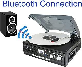 boytone bt-37b-c Bocina estéreo de 3velocidades Turntable, conexión inalámbrica a los dispositivos Bluetooth (Bluetooth Out Transferencia), 2Bocinas integrados, visualización LCD, radio AM/FM, USB/SD/AUX + Cassette Player/MP3