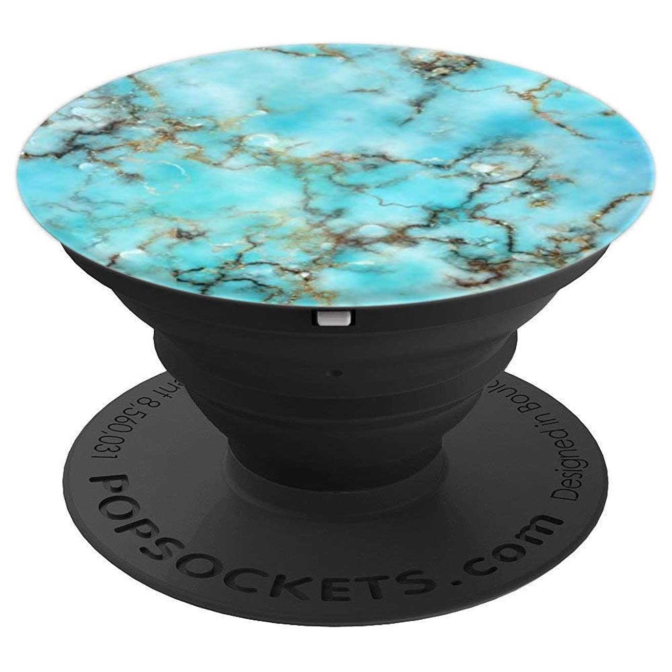 Turquoise Gold Marble Stone, Teal - PopSockets Grip and Stand for Phones and Tablets