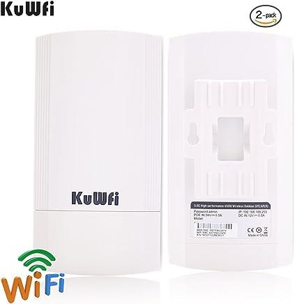 KuWFi Kit CPE esterno wireless da 450 Mbps da 2 pacchetti, Bridge/CPE wireless point-to-point per interni ed esterni Supporta la soluzione di trasmissione a distanza 2KM per PTP, PTMP - Confronta prezzi