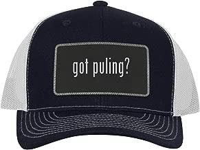 One Legging it Around got Puling? - Leather Black Metallic Patch Engraved Trucker Hat
