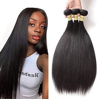 Brazilian Straight Virgin Human Hair 3 Bundles Unprocessed Brazilian Human Hair Weave Bundles Straight Brazilian Virgin Hair 3 Bundles Deal Straight Hair Extensions(10 12 14, Natural Black)