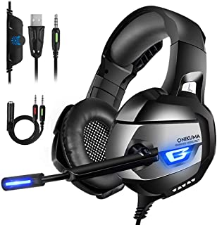 ONIKUMA Gaming Headset III - Xbox One Headphones with Updated 7.1 Surround Sound Stereo for PS4, Xbox One, PC, Mac, PS4 Headset with Noise Cancelling Mic & LED Light, Mute & Volume Control