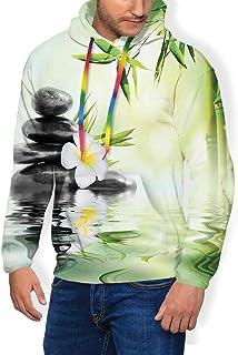 GULTMEE Men's Hoodies Sweatershirt, Garden with Frangipani Bamboo Japanese Relaxation Resting Travel,5 Size