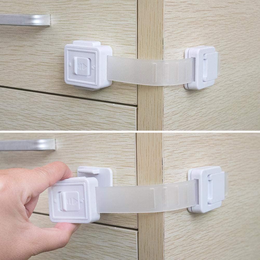 JEM Essentails, Baby Child Safety Cabinet Locks | Baby & Child Proof Dresser Drawers, Cabinets, Oven, Toilet Seat, and More | Multi-Purpose Use | Super Strong 3M Adhesive | 8 pack