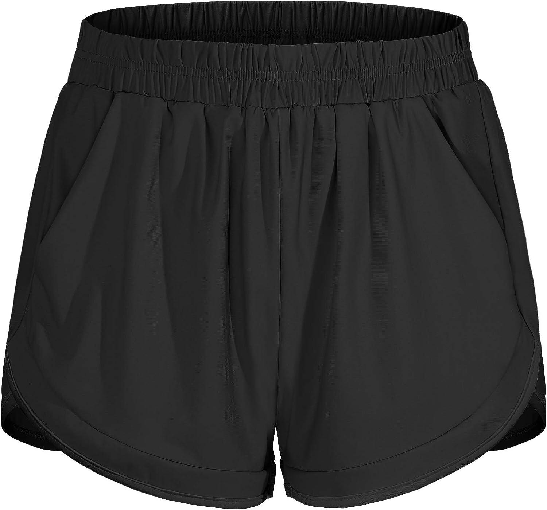 Blevonh Women Elastic Arlington Mall Waist Double w Layer New Shipping Free Shipping Running Casual Shorts
