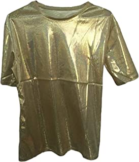 neveraway Women's Round Neck Tunic Shirt Short Sleeve Sparkly Shiny T Shirts