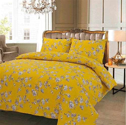 BeddimgHome New Luxury Clair Eve Natur Wende/Bettwäsche Bettwäsche Sets alle Größe, Baumwolle/Polyester-Baumwoll-Mischgewebe, Clair Mustard, King Size