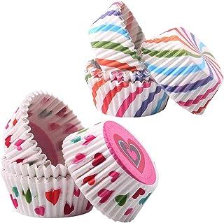 Gwolf Papel para Cupcakes, papel muffins, 200 piezas de molde para muffins Fiesta de cumpleaños para niños, tazas de muffins de colores, envoltorios de cupcakes Tazas de cupcakes de muffins de colores
